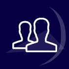 icone silouhette de deux personnes proches